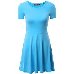 Amazon.com: Doublju Women Casual Short Sleeve Round Neck Flare Mini... (£14) ❤ liked on Polyvore featuring dresses, flare dress, short flared dresses, blue mini dress, round neck dress and short-sleeve dresses