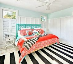 Turquoise, Coral and Black and White make for a beachy crisp bedroom: http://www.completely-coastal.com/2014/01/beach-house-turquoise-coral.html