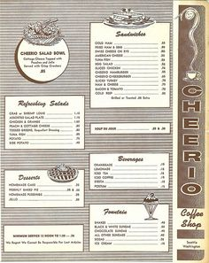 Part of Cheerio Coffee Shop menu, circa 1960 by Seattle Municipal Archives, via Flickr