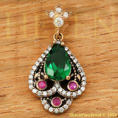 Hurrem  Sultan Pendant Tear Drop Shape Emerald Color Ottoman Jewelry 925 #un