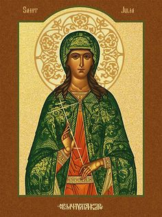 Julia, Virgin-Martyr, at Carthage Commemorated on July 16 Pagan Festivals, Orthodox Christianity, Religious Images, Religious Icons, Carthage, Catholic Saints, Traditional Paintings, Orthodox Icons, Russian Art
