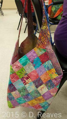 Mondo bag made by Valerie Whited, Ocala, FL. See quiltsmart.com for pattern kit