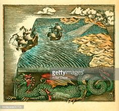 Stock Illustration : Fantasy map of a flat earth