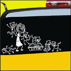"Crazy Cat Lady Stick Figure Family Decal can be applied to any surface Funny Vinyl Decal Sticker White In Color No Inks 100% Vinyl 8.5 ""x 5.5"" ..."
