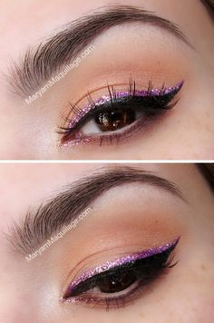 Glitter Eye Makeup Ideas for Spring Purple glitter liner over black cat eye. I searched for this on /imagesPurple glitter liner over black cat eye. I searched for this on /images Sweet Makeup, Pretty Makeup, Love Makeup, Beauty Makeup, Makeup Looks, Hair Makeup, Makeup Ideas, Perfect Makeup, Glitter Liner