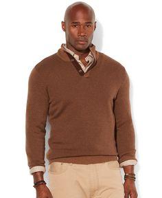 Polo Ralph Lauren Big and Tall Loryelle Wool-Blend Zip Mock Neck Sweater