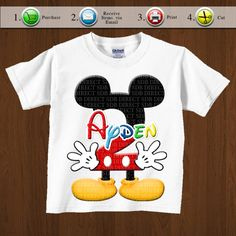 Mickey Mouse Inspired Iron On Printable, Mickey Mouse Party, Mickey Mouse Birthday Celebration  Prinatbles - Any Age - YOU PRINT di YellowFieldsDesigns su Etsy https://www.etsy.com/it/listing/109898560/mickey-mouse-inspired-iron-on-printable