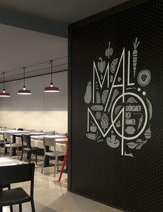 Wall graphics at Malmö restaurant, Sweden by Borja Garcia Studio:
