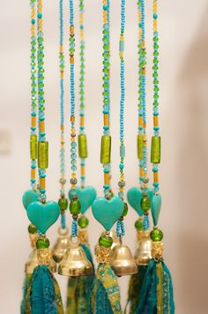 Turquoise and Green Shadows Beaded Hanging decor diy wind chimes Turquoise and Green Shadows Beaded Hanging Mobile- Boho Decor Hippie Home Decor, Bohemian Decor, Mobile Garden, Hippie Style, Boho Hippie, Sun Catchers, Diy Wind Chimes, Beaded Curtains, Gypsy Curtains
