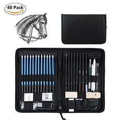 Wonyered 40PCS Professional Art Sketching Pencils Set Drawing Pencils Set