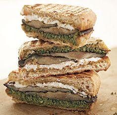 Portobello, pesto, and goat cheese sandwich