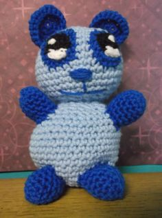 Blue Crochet Panda Bear Amigurumi Toy by SalemsShop on Etsy, $25.00