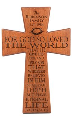 John 3:16 For God so loved the world  Personalized wall cross, wedding gift, Parent thank you Gift,Parent gift,anniversary gift,wall cross,