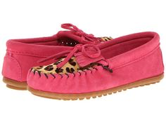 Minnetonka Kids Leopard Kilty Moc (Toddler/Little Kid/Big Kid) Hot Pink Suede - Zappos.com Free Shipping BOTH Ways