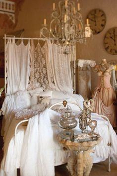 I love the idea of using pieces of dreamy romantic fabric to create curtain panels