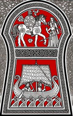 The Gotland stone - artist impression. A Valkyrie offering Odin a horn of mead, while two Einherjar make their last journey... to Valhalla.