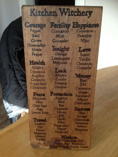 Kitchen Witchery list of herbs and their association hand painted wooden sign. I think I need to make something like this out of clay. Painted Wooden Signs, Hand Painted, Just In Case, Just For You, Wiccan Crafts, Kitchen Witchery, Practical Magic, Book Of Shadows, Spelling