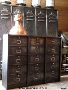vintage industrial furniture. metal filing cabinets Repinned by www.silver-and-grey.com