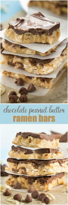 Chocolate Peanut Butter Ramen Bars - Ramen noodles may not be your typical dessert ingredient, but after you try this sweet no-bake treat, you'll see why it just works!
