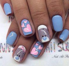 February nails, Bears nails, Cheerful nails, Heart nail designs, Hearts on… Trendy Nail Art, Cute Nail Art, Cute Acrylic Nails, Heart Nail Designs, Best Nail Art Designs, Ongles Hello Kitty, Valentine Nail Art, Nail Art For Beginners, Nails For Kids