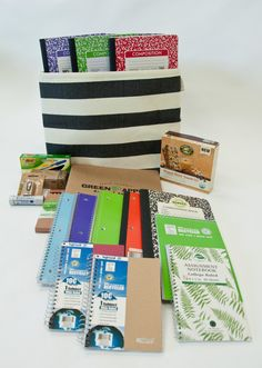 Today's Greenest Prize! Up to 10 winners will receive: A great selection of @Kejriwal 100% Recycled + PCW notebooks and filler paper, a The @ContainerStore Rugby Stripe Bin constructed from woven paper, Green Apple Supply Rebinder Spine Binder,  @GreenApple Jumbo Highlighter Pencils, Box of 12 Bic Ecolutions Pens, Box of Acco Jumbo Recycled Paper Clips,  and Coccoina Glue Sticks made from almond paste and @Nature'sPath Organic Crunchy Granola Bars