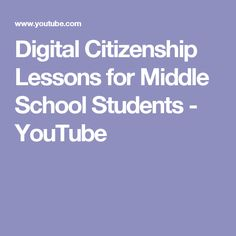 Digital Citizenship Lessons for Middle School Students - YouTube Teaching Technology, Teaching Biology, Educational Technology, Computer Lessons, Computer Projects, Computer Science, Digital Citizenship Lessons, School Computers, Digital Footprint