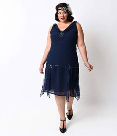 <p>If you are in love with the 1920s but were born a few decades too late, you can dress as if you're living in the '20s with the Unique Vintage Navy Hemingway Flapper Dress. Offering supreme flexibility, this plus-size dress can accommodate nights