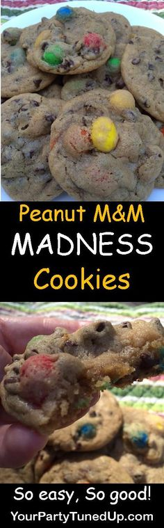 These Peanut M&M Cookies are a buttery and chunky combination of Peanut M&Ms and mini semi-sweet morsels.  Delish and easy!