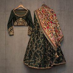 Matsya ~ Gold New collection . Lehenga . Gotta . Kantha . #matsyagold #indianheritage #madeinindia #handcrafted #withlove #anarkali #brown #indianweddings #gold #gotta #kantha #dupatta #wedding #forestgreen #green #perfect