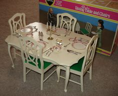 Vintage Sindy Dining Room Set - loved all my Sindy stuff! 1970s Childhood, Childhood Toys, Childhood Memories, Vintage Barbie, Vintage Dolls, Barbie Playsets, Barbie Kitchen, Sindy Doll, Barbie Furniture