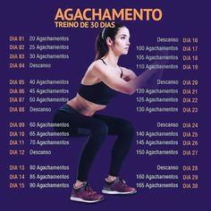 Agachamento - Treino de 30 Dias - Real Time - Diet, Exercise, Fitness, Finance You for Healthy articles ideas Body Fitness, Physical Fitness, Fitness Diet, Fitness Motivation, Health Fitness, Squats Fitness, Enjoy Fitness, Dieta Fitness, Fitness Memes