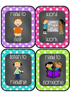 Chevron-Polka Dot-Chalkboard Themed Daily 5/Literacy Center Cards Freebie