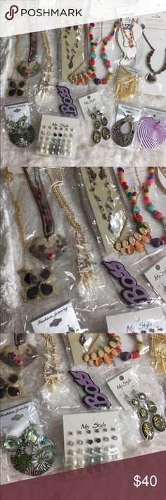 🔥ALL 🆕 15 JEWELRIES 💎💁 New! Beautiful pieces. Great to mix and match with outfits, gift or resell. Includes 8 necklaces, (two has matching earrings) and 6 different styles of earrings (5 pairs of dangle earrings and one set of stud earrings) and one pair of anklet and toe rings. Necklaces and earrings and anklet total of 15. Great deal for a lot. Don't miss it! 🦋Boutique item🦋Keywords: Boho, classic, dainty, elegant, chic, stylish, fashion, victorian Boutique Jewelry Necklaces