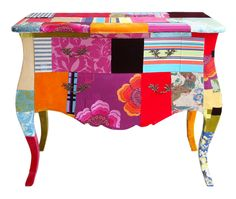 The Commode chest of drawers to order wrapped in single colours or patch work.