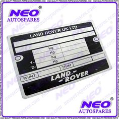 New Top Quality  Land Rover 4x4 Vehicles Replacement Blank Data Plate