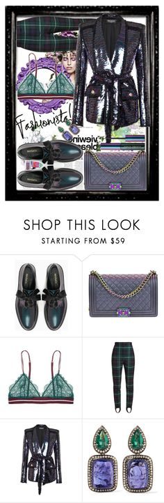 """Super purple power girl. Green of envy! 🚺"" by jelena-bozovic-1 ❤ liked on Polyvore featuring KAROLINA, Max&Co., Chanel, Burberry, Balmain, Amrapali and Puma"