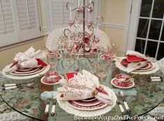 Valentine's Day Table with Vintage Copeland Spode, Tower – Between Naps on the Porch