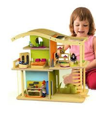 Hape Dollhouse -  Open concept, available furnished, it even has a working solar panel and built in lights!