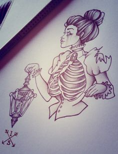 Lady with lantern, tattoo design
