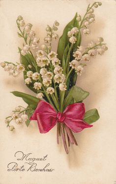 vintage card lily of the valley Decoupage Vintage, Vintage Pictures, Vintage Images, Vintage Flowers, Vintage Floral, Lily Of The Valley Flowers, Language Of Flowers, Vintage Greeting Cards, Flower Images