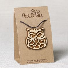 OWL Necklace Natural Wood