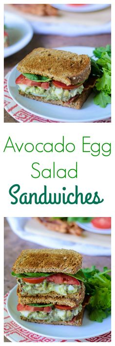 Avocado Egg Salad Sandwiches. The creamiest egg salad around thanks to avocados and Greek yogurt! Ready to go in less than 30 minutes, this is a perfect healthy dinner or lunch recipe.