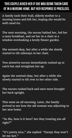 Couple Asked Her If She Was Being Taken Care Of In A Nursing Home. Her Response Is Priceless funny jokes story lol funny quote funny quotes funny sayings joke hilarious humor stories funny jokes