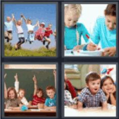 4 pics 1 word kid jumping in air, Kids Drawing, Children in classroom, Kids playing. Find the 4 pics 1 word answers you need and enjoy. :)