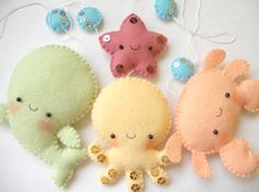 PDF pattern - Four cute sea creatures - octopus, whale, starfish and crab - DIY felt ornaments, baby crib mobile. $9,00, via