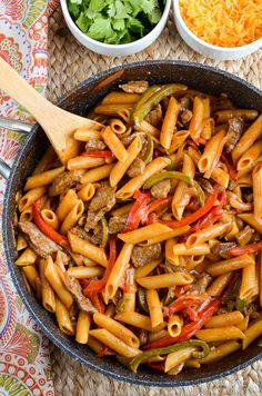 Stuck for ideas for dinner? Impress the family with the One Pot Beef Fajita Pasta Gotta love one pot dishes, right?