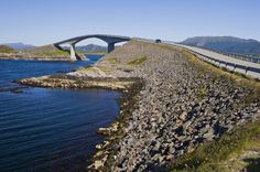 A bridge crosses the Atlantic Road, Norway -  Located in the fjord area of Norway, the Atlantic Road connects a series of islands along the western coast. Even though talk of connecting the islands began as early as 1909, the Atlantic Road didn't open for another 80 years, in July 1989.  It's been the site of numerous car commercials. Many locals use the bridges for cycling and fishing.