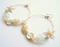 Real Starfish Hoops Large Shell Hoop Earrings by BellaAnelaJewelry