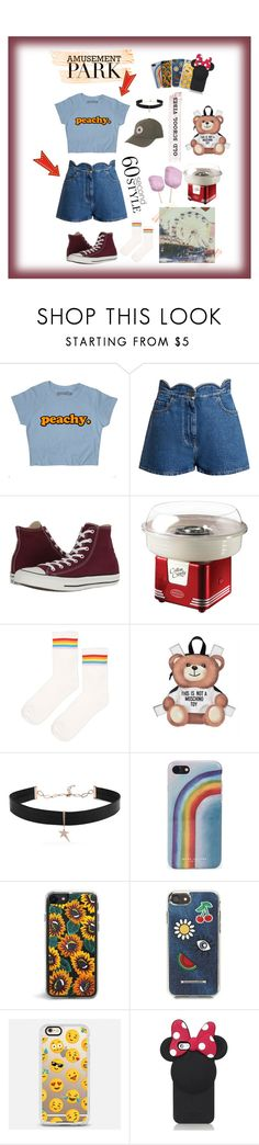 """Old School Vibes Amusement Park Outfit (60 second style)"" by jamisonleong ❤ liked on Polyvore featuring Valentino, Converse, Polaroid, Nostalgia Electrics, Topshop, Moschino, Diane Kordas, Marc Jacobs, Rebecca Minkoff and Casetify"