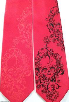 Red & Black skull, mens necktie  Day of the Dead by RokGear, $22.40